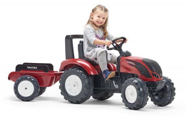Valtra pedal tractor with trailer, metallic red